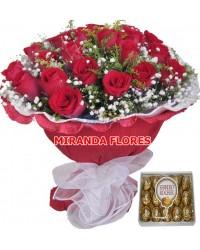 01- BOUQUET 16 ROSAS VERMELHAS PAPEL CREPOM COM FERRERO ROCHE 15